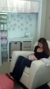 Curtain over the changing table - oh, and my daughter and granddaughter!